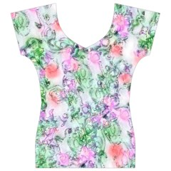 Softly Floral A Women s V-Neck Cap Sleeve Top