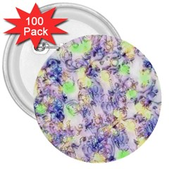 Softly Floral B 3  Buttons (100 pack)