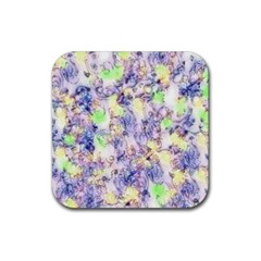 Softly Floral B Rubber Square Coaster (4 pack)