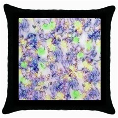 Softly Floral B Throw Pillow Case (Black)