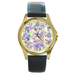 Softly Floral B Round Gold Metal Watch