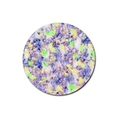 Softly Floral B Rubber Round Coaster (4 pack)