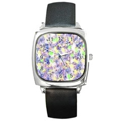 Softly Floral B Square Metal Watch