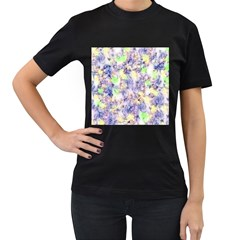 Softly Floral B Women s T-Shirt (Black) (Two Sided)