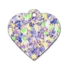 Softly Floral B Dog Tag Heart (One Side)
