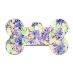 Softly Floral B Dog Tag Bone (One Side)