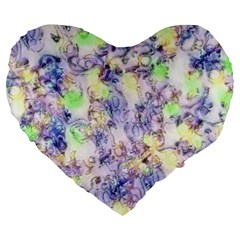 Softly Floral B Large 19  Premium Heart Shape Cushions
