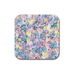 Softly Floral C Rubber Square Coaster (4 pack)