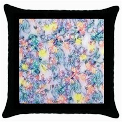 Softly Floral C Throw Pillow Case (Black)