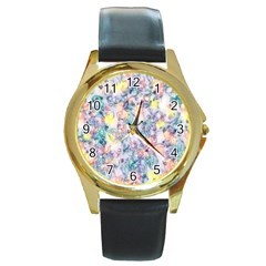 Softly Floral C Round Gold Metal Watch