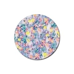 Softly Floral C Rubber Round Coaster (4 pack)
