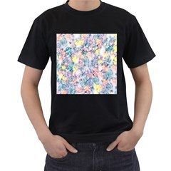 Softly Floral C Men s T-Shirt (Black) (Two Sided)