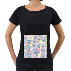 Softly Floral C Women s Loose-Fit T-Shirt (Black)