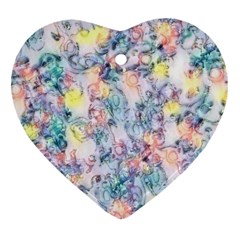 Softly Floral C Heart Ornament (Two Sides)