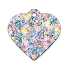 Softly Floral C Dog Tag Heart (Two Sides)