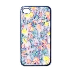 Softly Floral C Apple iPhone 4 Case (Black)