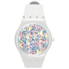 Softly Floral C Round Plastic Sport Watch (M)