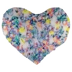 Softly Floral C Large 19  Premium Heart Shape Cushions