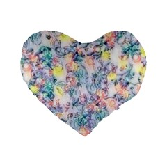 Softly Floral C Standard 16  Premium Flano Heart Shape Cushions
