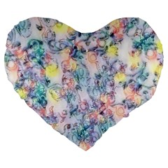 Softly Floral C Large 19  Premium Flano Heart Shape Cushions