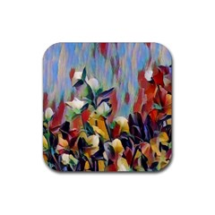 Abstractionism Spring Flowers Rubber Square Coaster (4 pack)