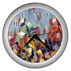 Abstractionism Spring Flowers Wall Clocks (Silver)