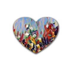 Abstractionism Spring Flowers Rubber Coaster (Heart)