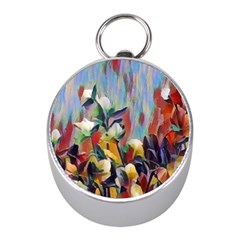 Abstractionism Spring Flowers Mini Silver Compasses