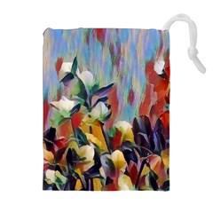 Abstractionism Spring Flowers Drawstring Pouches (Extra Large)