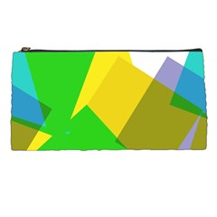 Green yellow shapes  Pencil Case