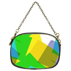 Green yellow shapes   Chain Purse (Two Sides)