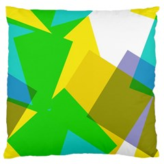 Green yellow shapes  Large Flano Cushion Case (Two Sides)