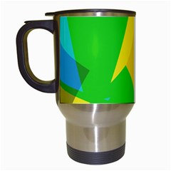 Green yellow shapes        Travel Mug (White)