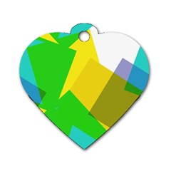 Green yellow shapes        Dog Tag Heart (One Side)