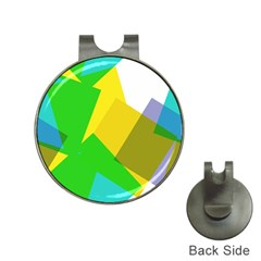 Green yellow shapes        Golf Ball Marker Hat Clip