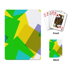 Green yellow shapes        Playing Cards Single Design