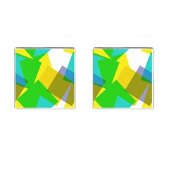 Green yellow shapes        Cufflinks (Square)