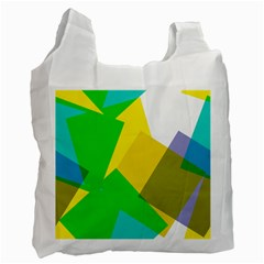 Green yellow shapes        Recycle Bag (One Side)