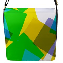 Green yellow shapes        Flap Closure Messenger Bag (S)