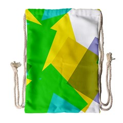 Green yellow shapes        Large Drawstring Bag
