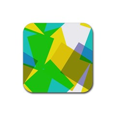 Green yellow shapes        Rubber Square Coaster (4 pack