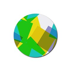 Green yellow shapes        Rubber Round Coaster (4 pack)
