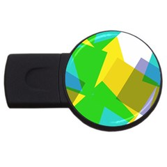 Green yellow shapes        USB Flash Drive Round (2 GB)