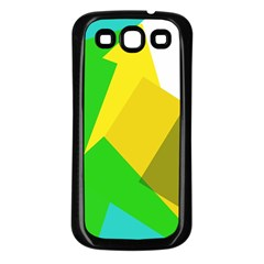 Green yellow shapes  Samsung Galaxy S3 Back Case (White)