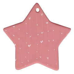 Pink background with white hearts on lines Ornament (Star)