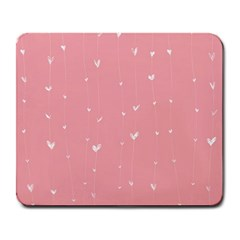 Pink background with white hearts on lines Large Mousepads