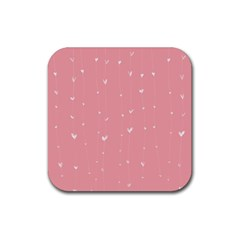 Pink background with white hearts on lines Rubber Coaster (Square)