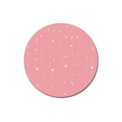 Pink background with white hearts on lines Magnet 3  (Round)