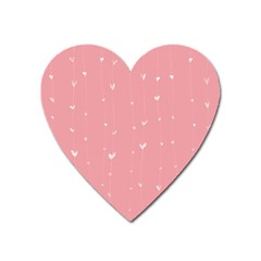 Pink background with white hearts on lines Heart Magnet