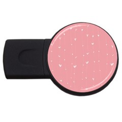 Pink background with white hearts on lines USB Flash Drive Round (1 GB)